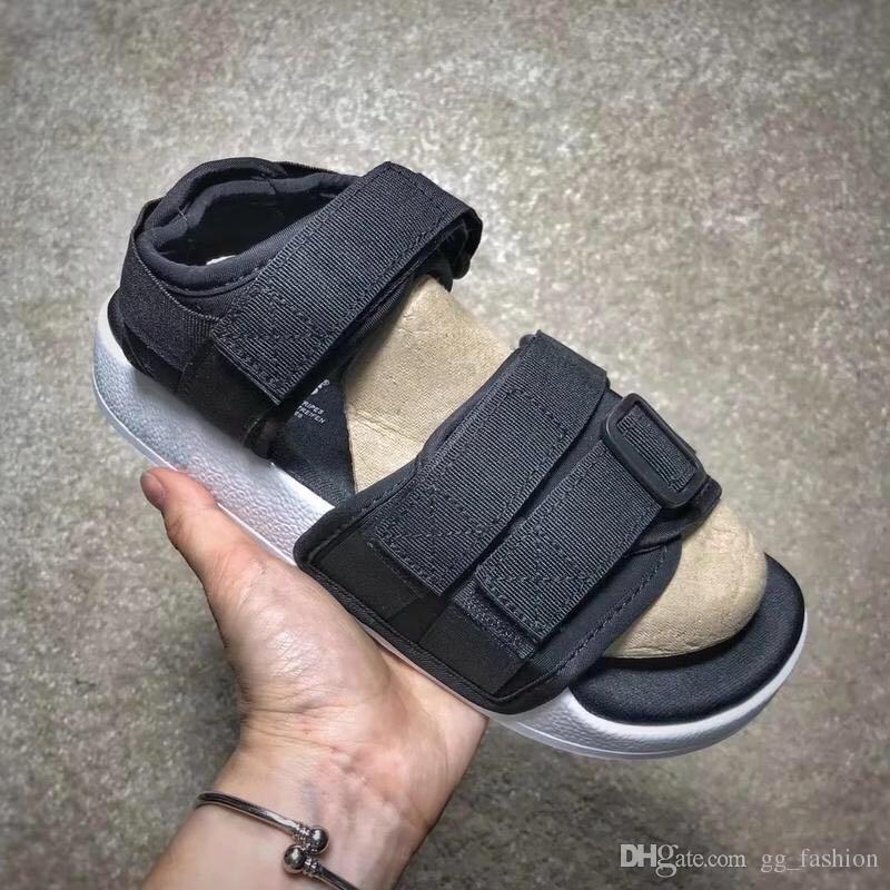 1b6dfabdb 2019 Summer ADILETTE Sandals Fashion Man Women Hook Loop Lovers Visvim  Slides Slippers Beach Outdoor Shoes Comfortable Velcro Sandals Nude Shoes  High Heel ...