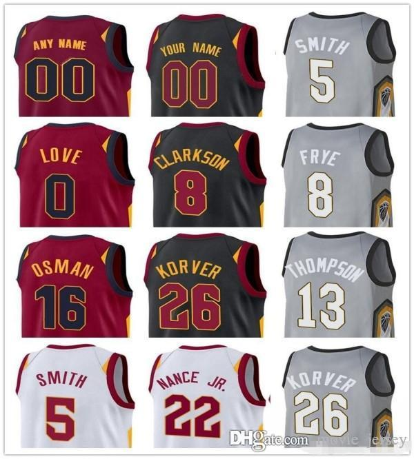 sports shoes e71ad 98315 Custom 2019 Basketball Jersey Cleveland Alec Burks Ante Zizic Cameron Payne  Cedi Osman Kevin Love Clarkson Cavaliers Men Jerseys