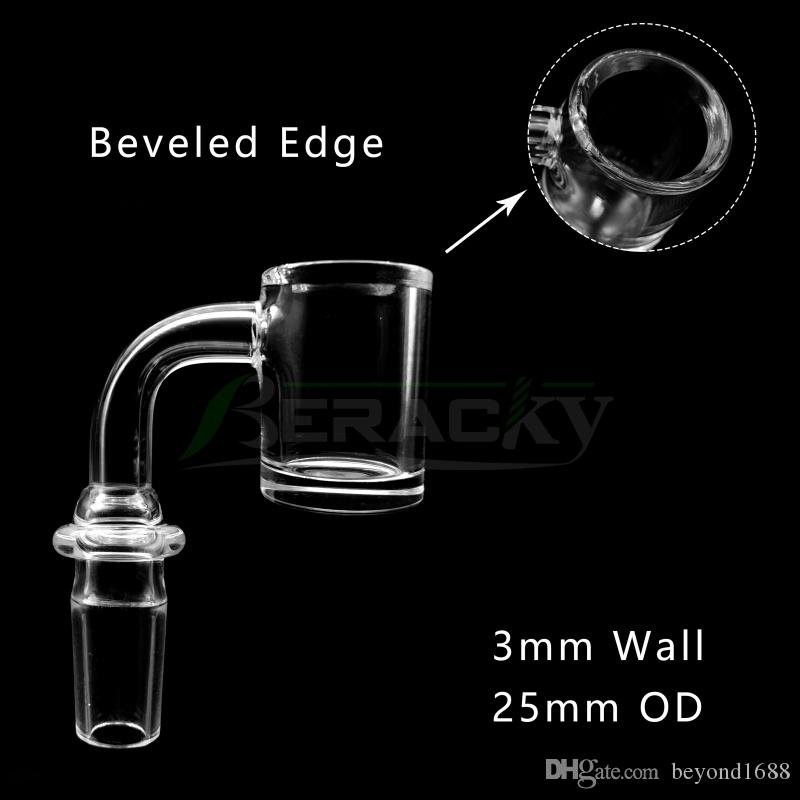 3mmWall 4mmBottom Beveled Edge Quartz Banger With New Joint Male Female 10mm 14mm 18mm 45/90 Degrees Quartz Nails for Glass Water Bong