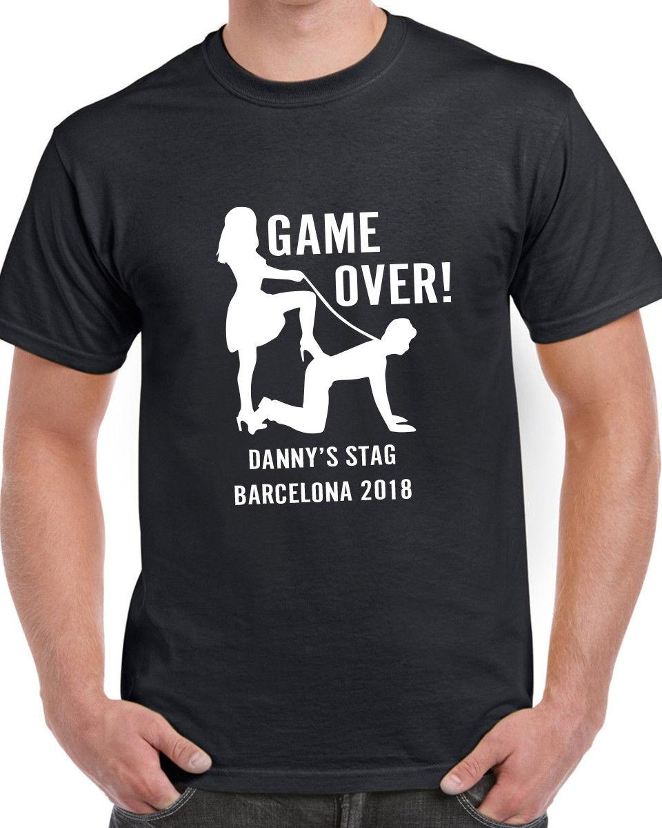 Game Over Stag T-shirt Funny Personalised Novelty Custom Printed Stag Do  Party Funny free shipping Tshirt top