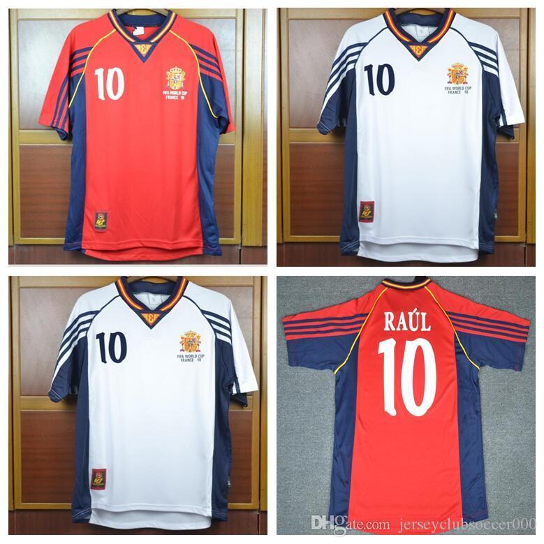 59bab7ef315 2019 World Cup 1998 Spain Soccer Jerseys Home Away White RAUL Xavi Puyol  Torres Hierro Morientes 98 Spain Football Shirts From Jerseyclubsoccer000