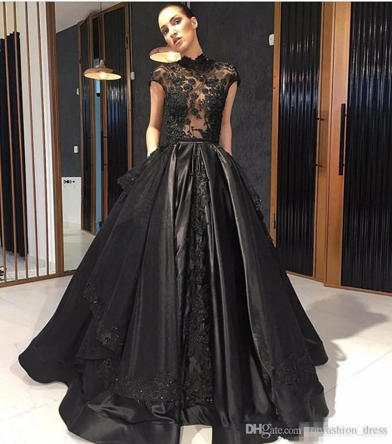 Black High Neck Prom Dresses Capped Sleeves Satin Illusion Bodice Lace Applique Beaded Satin Sweep Train Custom Made Plus Size Evening Gowns