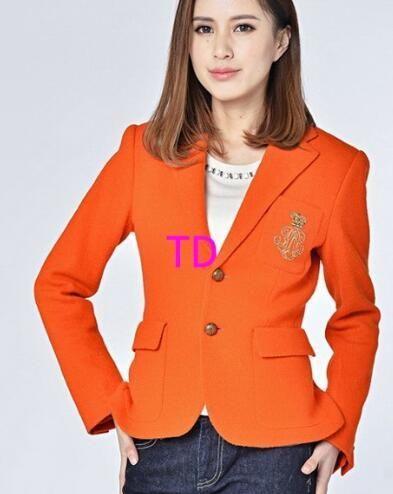 Lujo invierno mujer chaquetas de polo sólido color naranja algodón niñas abrigos clásicos slim fit un solo pecho chaquetas casuales s XL