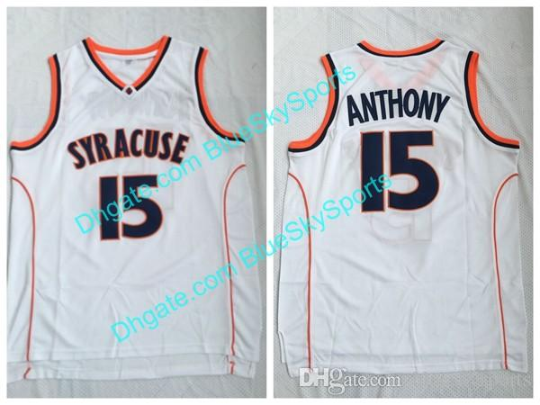 release date: 0758d 347b7 High Quality Carmelo #15 Anthony Jersey Syracuse White Jersey Men s Shirts  College Basketball Jerseys Free Shipping