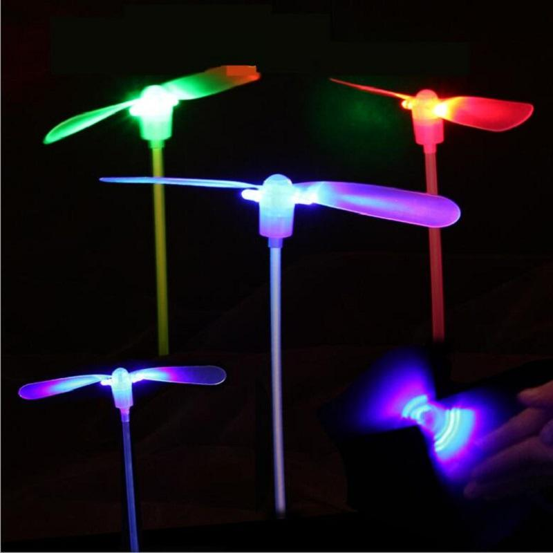 heap Light-Up s 50pcs/lot Light up Plastic glowing Bamboo Dragonfly Flying Saucer Disc Sets Children Traditional Toy kids funny Luminous...