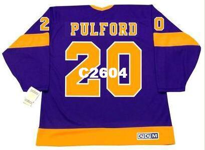 best sneakers 27aec b8ea1 Men #20 BOB PULFORD Los Angeles Kings 1971 CCM Vintage Away Home Hockey  Jersey or custom any name or number retro Jersey