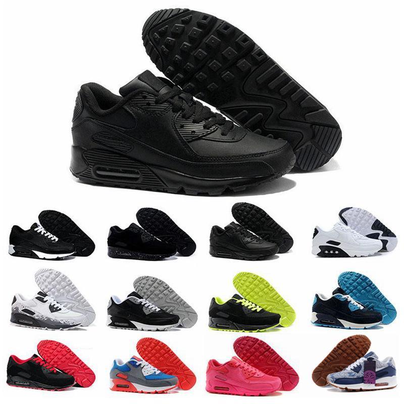 nike air max 90 Flyknit Triple Blanco Negro Aire Rojo apagado Zapatillas de deporte de los años 90 para hombre Entrenadores Deportes Chaussures