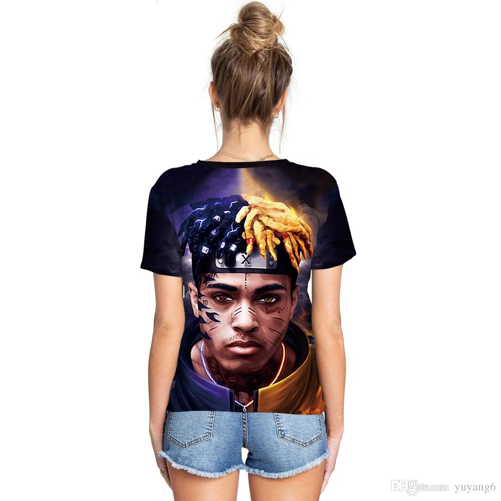 XXXTentacion couple T-shirt commemorative shirt digital designer print summer lovers T-shirt sports round neck short-sleeved shirt shirt fre