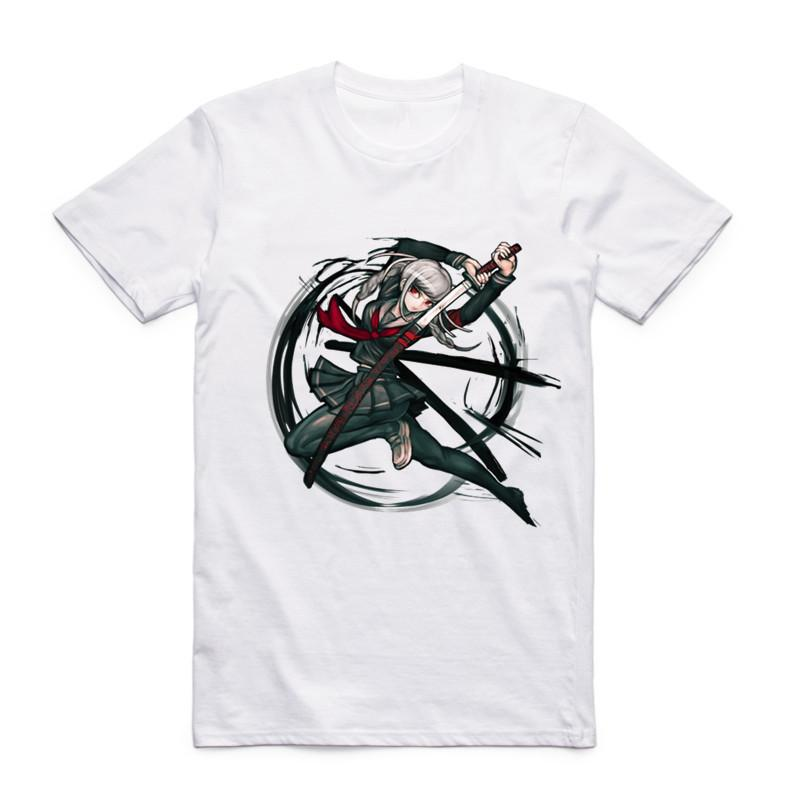 New Fashion Men Print Danganronpa Logo T-shirt White O-neck Short Sleeve  Summer Japanese Anime Cool Casual Top Tee T Shirt