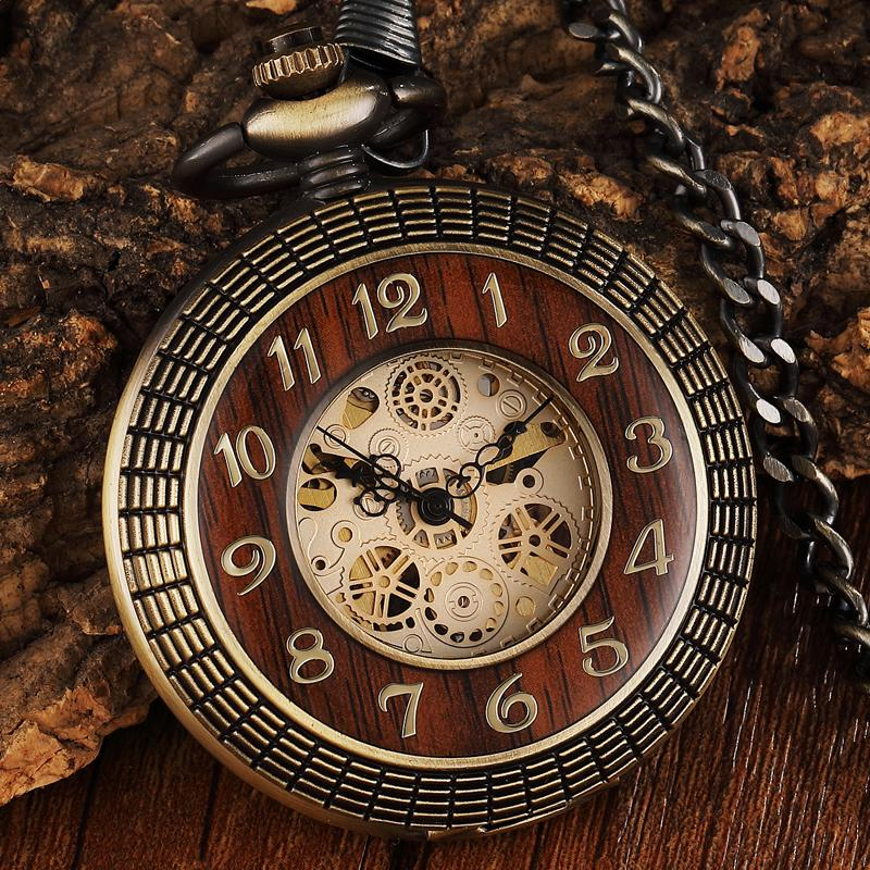 Vintage Wood Circle Carved Number Dial Mechanical Pocket Watch Men Unique Hollow Steampunk Retro Mechanical Clock Watches Chain