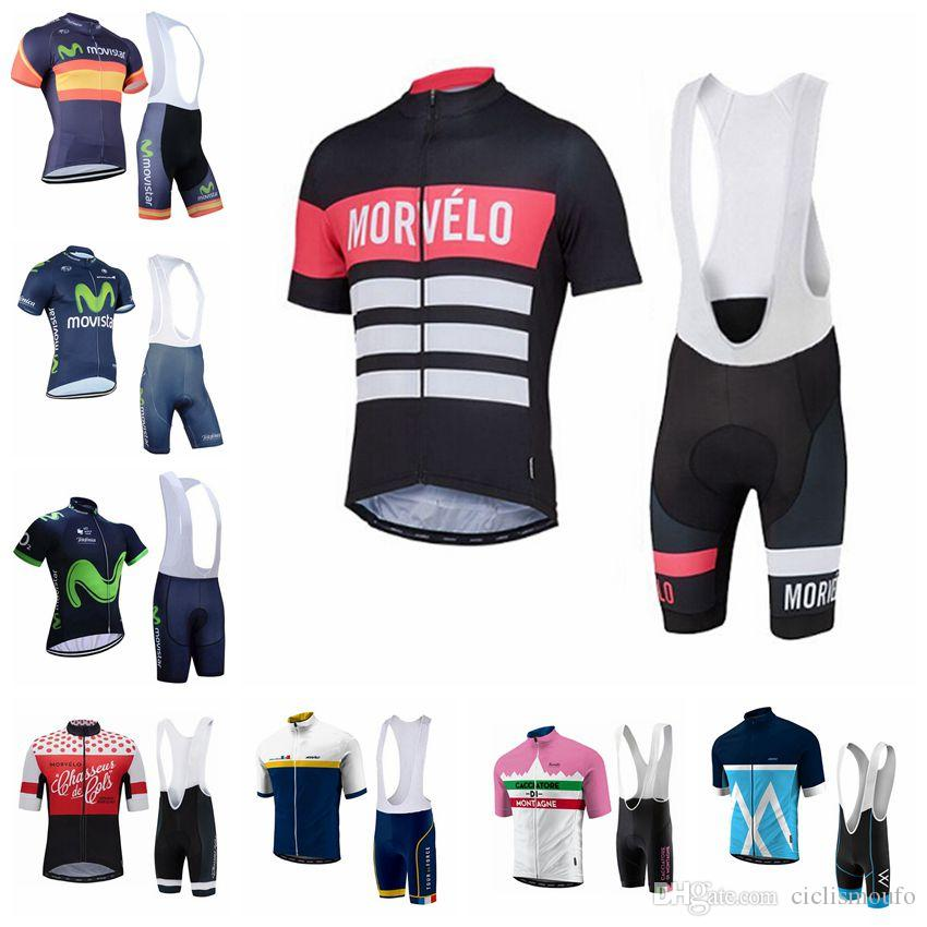 14fad3264 Morvelo MOVISTAR Team Cycling Short Sleeves Jersey Bib Shorts Sets  Breathable Cycling Clothing Summer Bicycle Wear U30615 Bike Riding Gear  Bicycle From ...