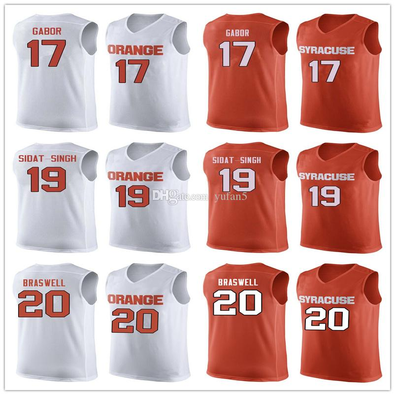buy online bf3ce 3f616 Syracuse Orange College #17 Billy Gabor #19 Wilmeth Sidat-Singh #20 Robert  Braswell Basketball Jersey Mens Stitched Custom Number Name Jerse