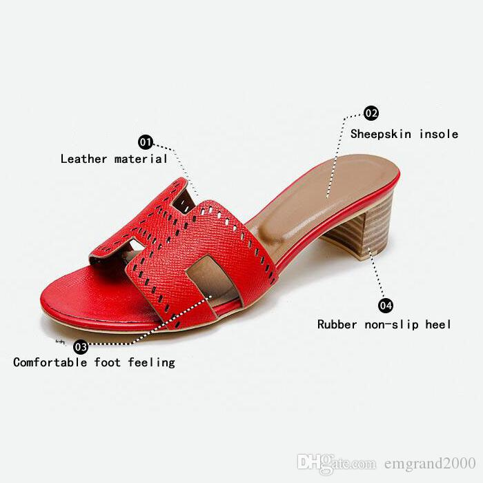 f20ff317df8 2019 New Sheepskin Women S Mid Heel Low Heeled Sandals Slippers Fashion  Hollow Carving Leather Material Get Together Appointment Jobs Use Boots For  Women ...