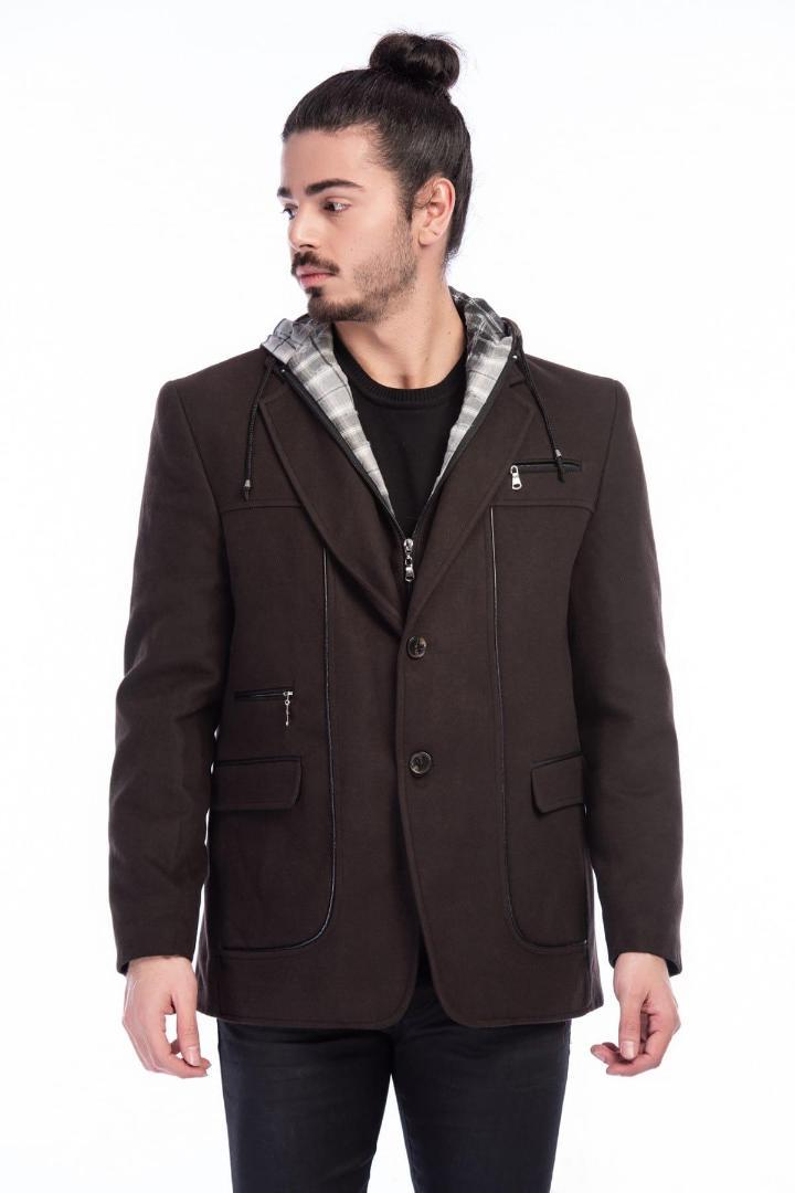 Dewberry Male Dotted Anthracite Coat-1030001K7126.