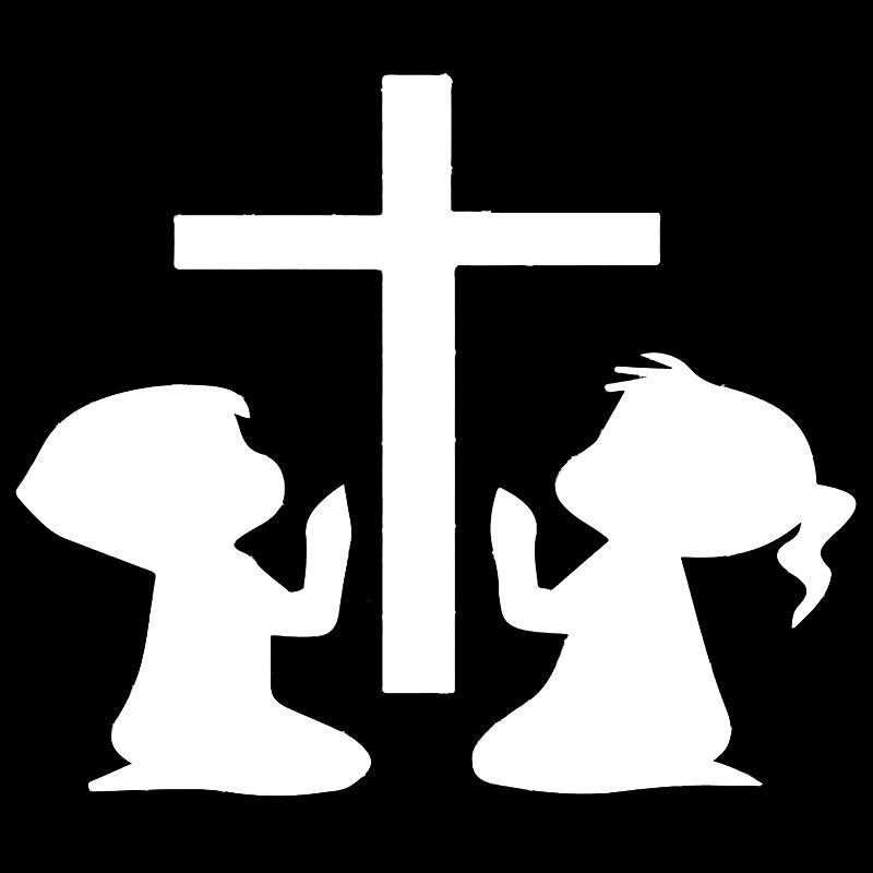 15*12.9cm Lovely Humour CHILDREN PRAYING AT CROSS DECAL/STICKER 2019 New Style Hot Religion Church Modern Decal