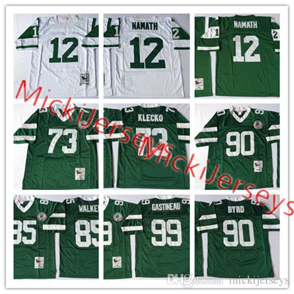 2f324c8b376 Mens 12 Joe Namath Vintage Jersey Stitched Green #73 Joe Klecko #85 ...
