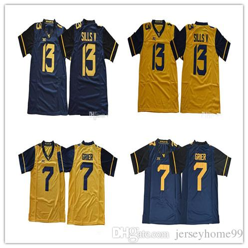 2019 2018 New West Virginia Mountaineers WVU  7 Will Grier 13 David Sills V  Blank White Blue Yellow Stitched XII NCAA College Football Jerseys From ... 6c0e8e510