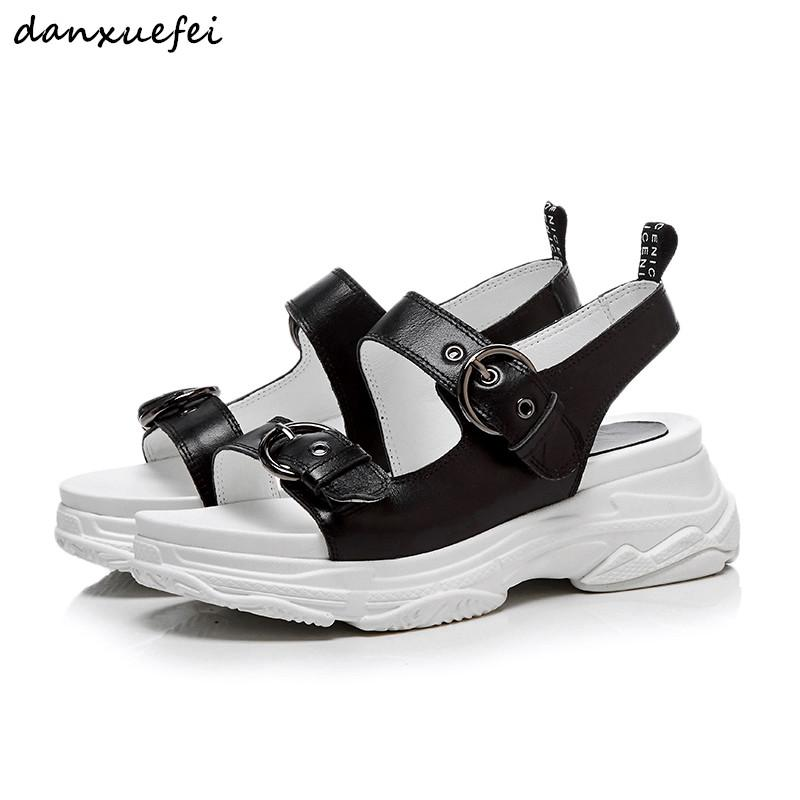 d09a2b07e6409 Women S Genuine Leather Sandals Platform Flats Leisure Punk Sandals Summer  Comfortable Sandalias High Quality Handmade Shoes Hot Silver Sandals Gold  Sandals ...