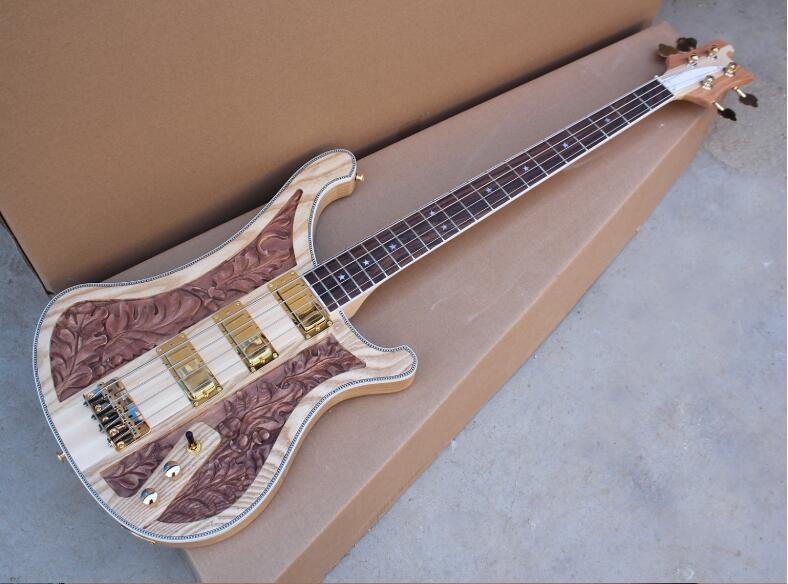 ricken full-body electric bass, CNC engraved pattern guitar, three pickups, free shipping