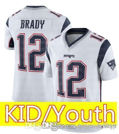first rate b617c 8d246 Kid 12 Tom Brady 87 Rob Gronkowski Jersey Youth KIDS New Patriots Football  Jerseys 52 khalil Mack 2 Matt Ryan