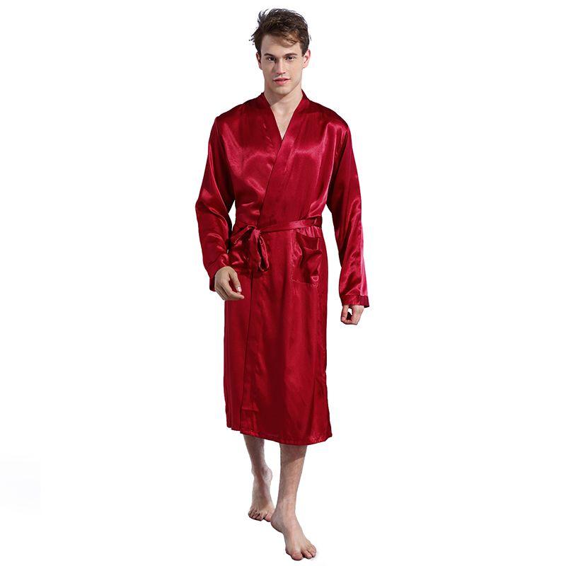 77772c6e2a Long Robe Emulation Silk Soft Home Bathrobe Plus Size S-XXL ...