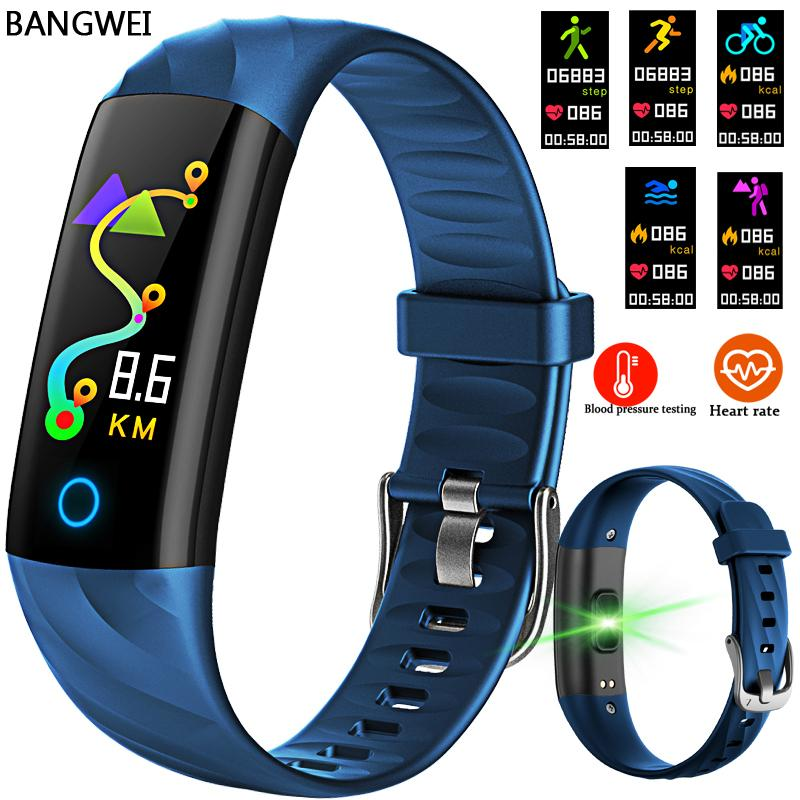 Bangwei Smart Wrist Band Heart Rate Blood Pressure Oxygen Oximeter Sport Bracelet Waterproof Watches Intelligent For Ios Android Y19061905