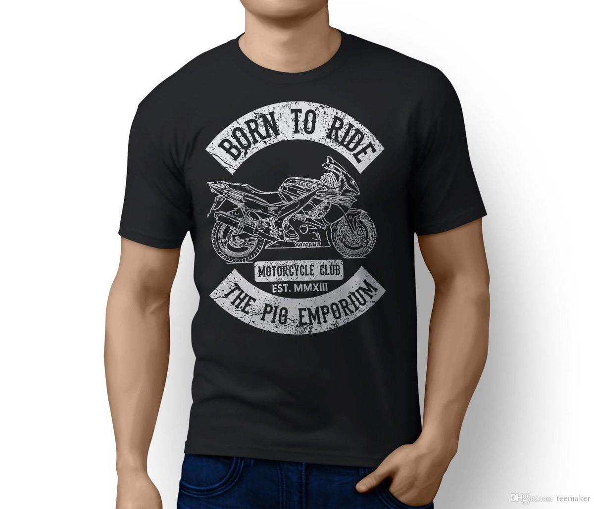 Rh Born To Ride Yamaha Yzf600R Thundercat Inspired Motorbike Art T-Shirt Casual Tallas grandes Camisetas estilo Hip Hop Tops Camiseta S-3XL