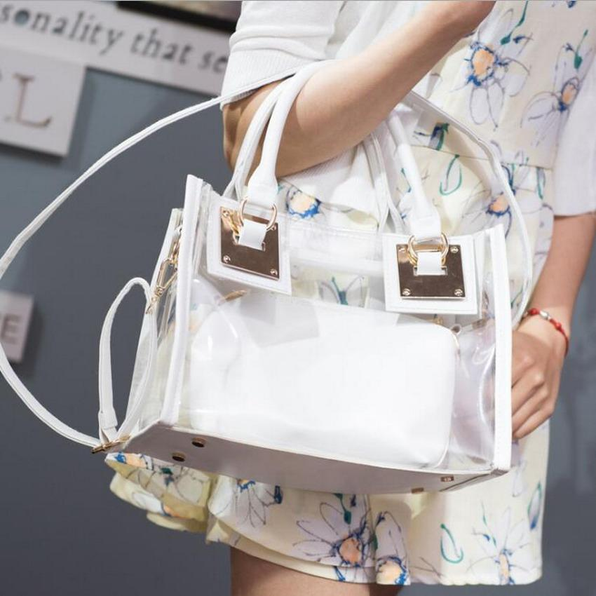 Wholesale- Transparent Women Handbags Purse Solid Casual Tote Shoulder Bag Jelly Composite Bags Teenager Girls Small Beach Bags 2017 Bolsa