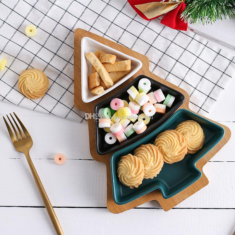 Christmas Tree 3 Porcelain Dishes And 1 Bamboo Serving Tray For ...