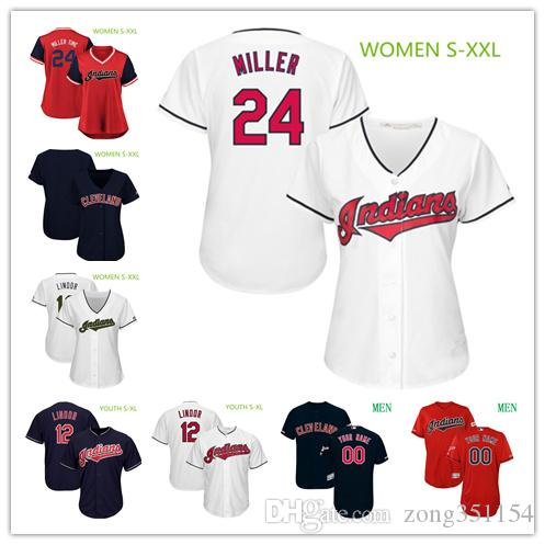 uk availability 16a93 2791a Women Youth Men Jersey Francisco Lindor Corey Kluber Michael Brantley  Brandon Guyer Mike Clevinger jersey Custom Indians Baseball Jerseys