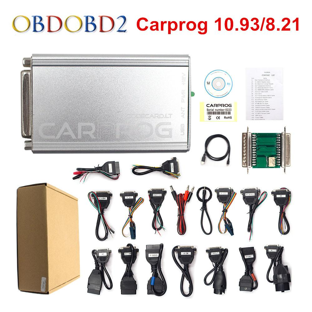 CARPROG V10 0 5 / V8 21 Programmer Auto Repair Airbag Reset Tools Car Prog  10 93 ECU Chip Tuning Full 21 Adapters Free Ship