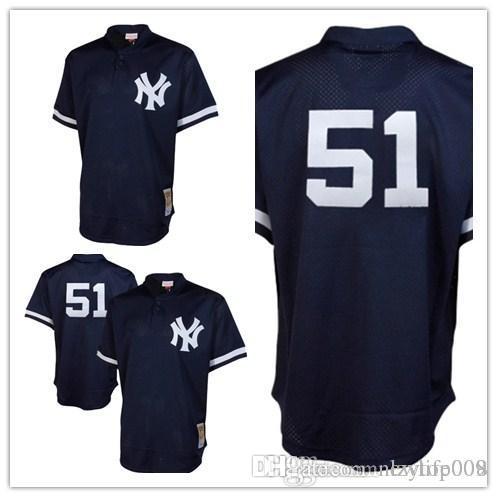 new style eb5cd bc9e2 custom 2019 Men s Yankees 51 Bernie Williams Mitchell New York & Ness Navy  Fashion Cooperstown Collection Mesh Batting Practice women k