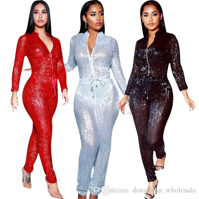 eed9e625cc5 2019 Plus Size Sexy Sequined Spliced Jumpsuit Women Front Zip Long Sleeve  Party Romper 2019 Waist Lace Up Shiny Long Overall From Dongguan wholesale