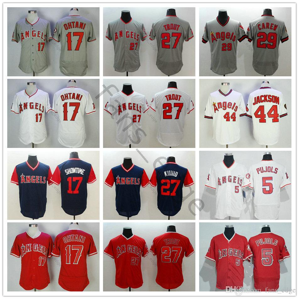 super popular 1ce8f 9db48 Stitched Los Angeles Angels #5 Albert Pujols 17 Shohei Ohtani Jersey 27  Mike Trout 29 Rod Carew 44 Reggie Jackson Baseball Jerseys