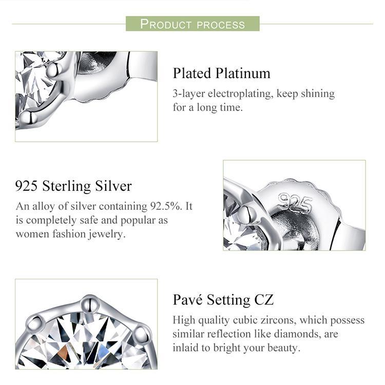 WOSTU Настоящее 100% Стерлингового Серебра 925 Игристые Свет Серьги Стержня Для Женщин Свадьба Свадьба Мода Свежие Ювелирные Изделия Подарок CQE499