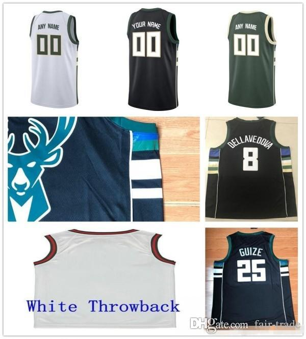51e6f9a8ba3 Custom 2019 Basketball Jersey Milwaukee Malcolm Ersan Brogdon ...