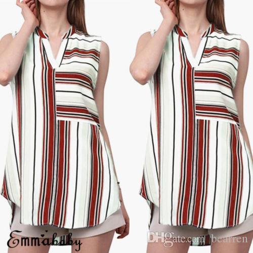 Summer Plus Size Shirts Summer Women Casual Blouse Ladies Sleeveless Striped V-neck Shirt New Fashion Clothes