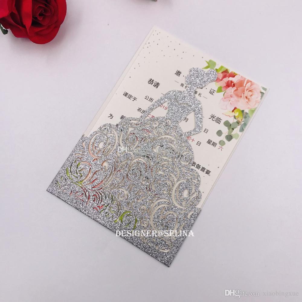 Hot Sale Silver Glitter Laser Cut Quinceanera Invitations Rose Crown