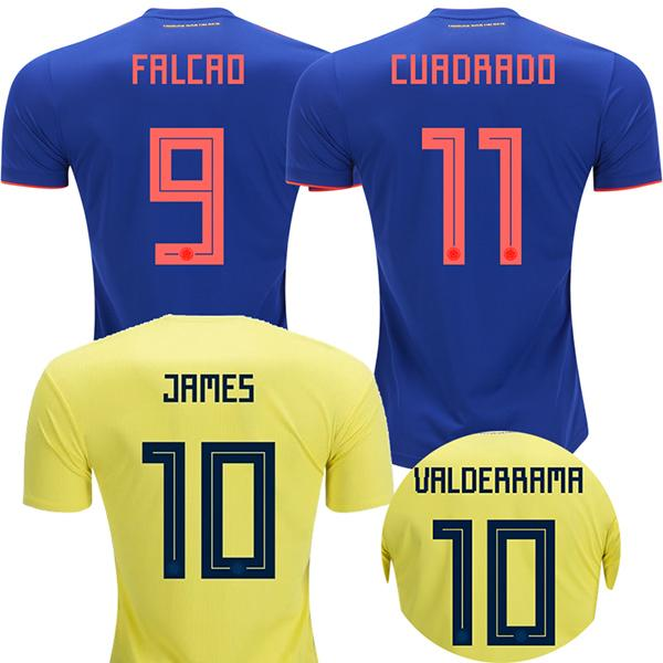 a542f82955f 2018 Colombia Soccer Jerseys World Cup Colombia Away Blue Football Shirt  JAMES Rodriguez Camiseta BOCCA FALCAO CUADRADO Maillot De Foot Online with  ...