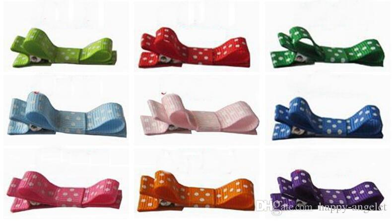 20pcs mini hair accessories bows clips layered polka dot ribbon covered Double Single Prong Duckbill Alligator Hairpins Baby headwear FJ3226