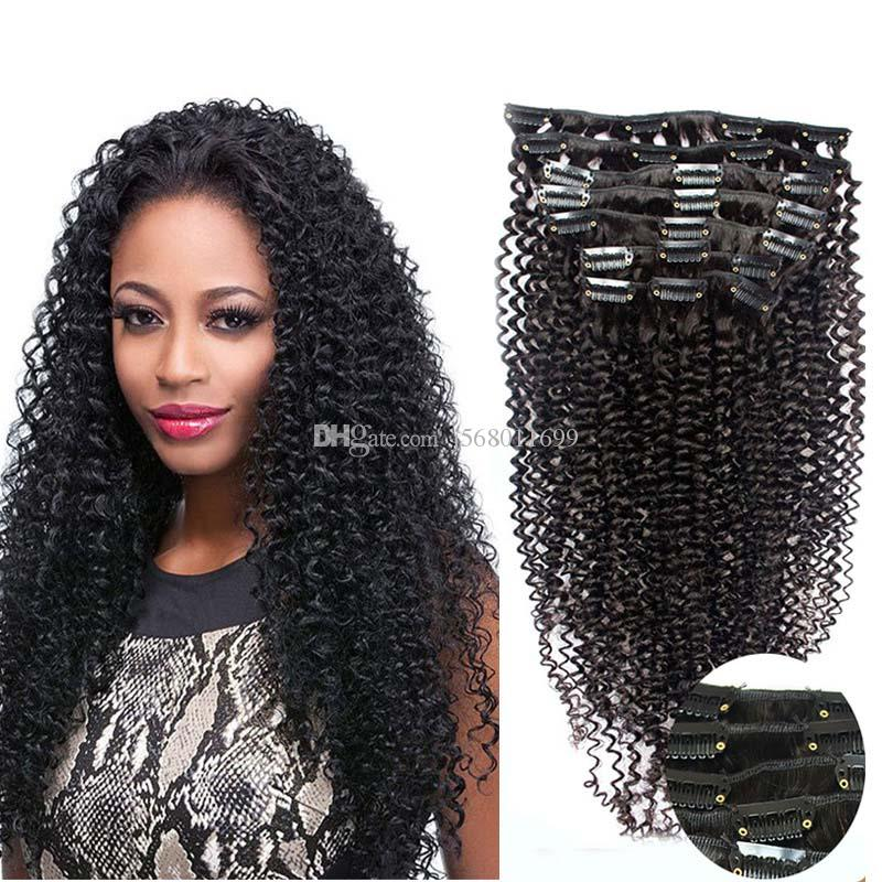 Brazilian Virgin Human Hair Afro Kinky Curly Unprocessed Remy Hair 9pcs/set Kinky Curly Clip In Human Hair Extensions Cheap Free Shipping