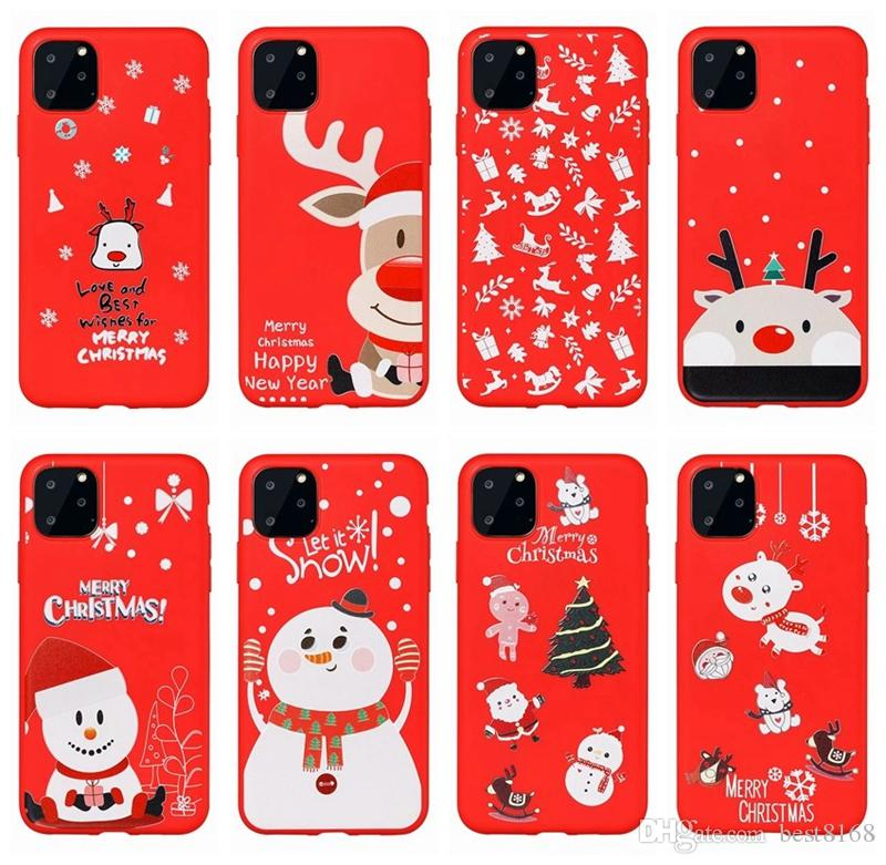 Merry Christmas Gift Soft TPU Case For iphone 11 Pro XS MAX XR X 8 7 6 Santa Claus Hat Tree Elk Snow Snowman Phone Red Cute Lovely Cover