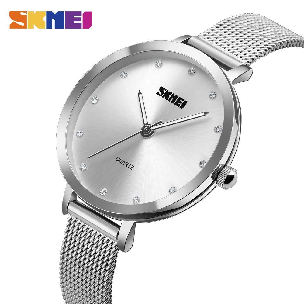 SKMEI Brand Fashion Rose Gold Silver Mesh Band Ladies Luxury Watch Bayan  Kol Saati For Women Quartz Watches Relogio Feminino