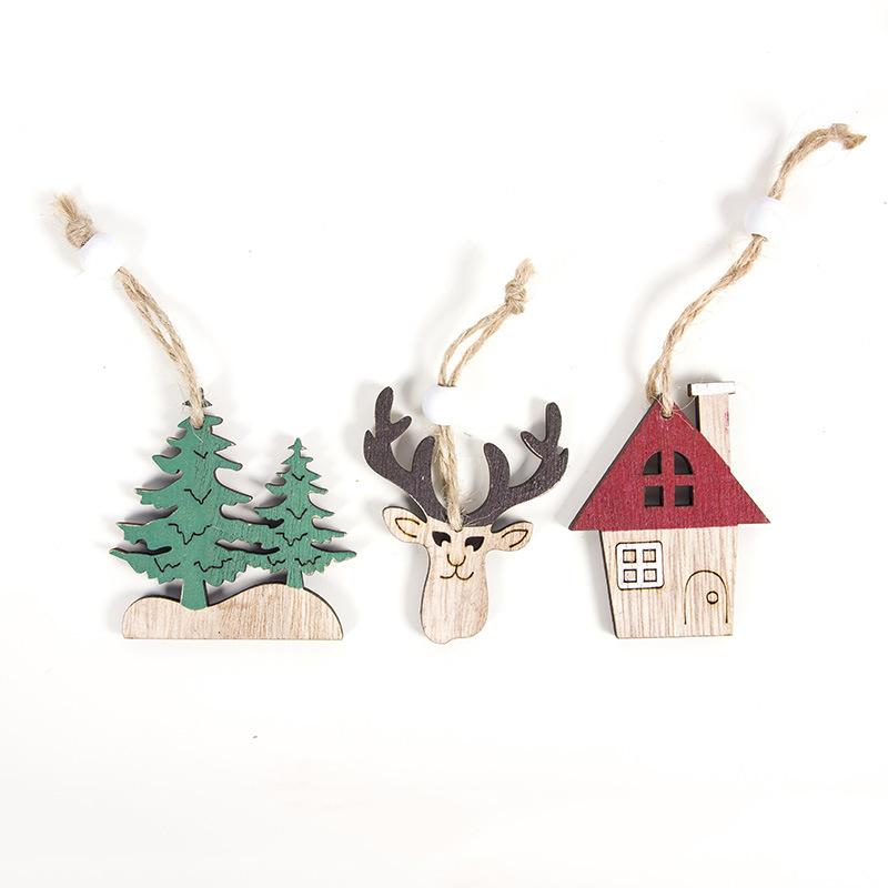 Decorative Christmas Wooden Hanging Decoration Pendants Car Tree Deer wood hanging crafts ornament kids toy gifts