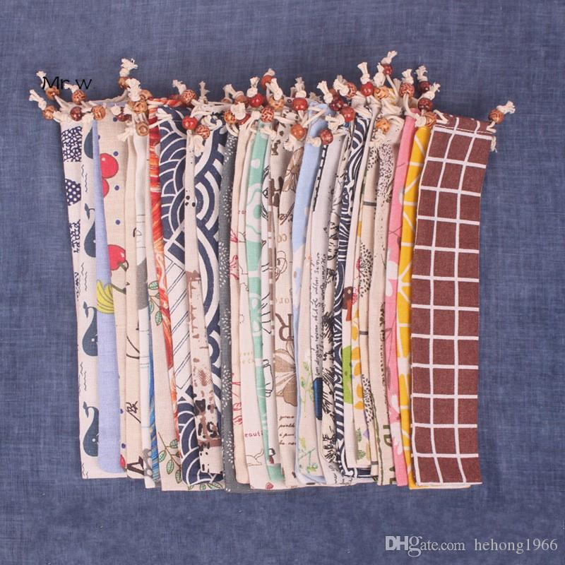 Japanese Style Portable Bundle Pocket 33 Colors Print Linen Chopsticks Spoon Rope Sack Reusable Storage Bags 1 3kbE1