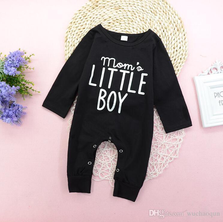 fe08ee444 2019 Infant Baby Boy Black Long Sleeve Jumpsuit Romper Pajamas ...