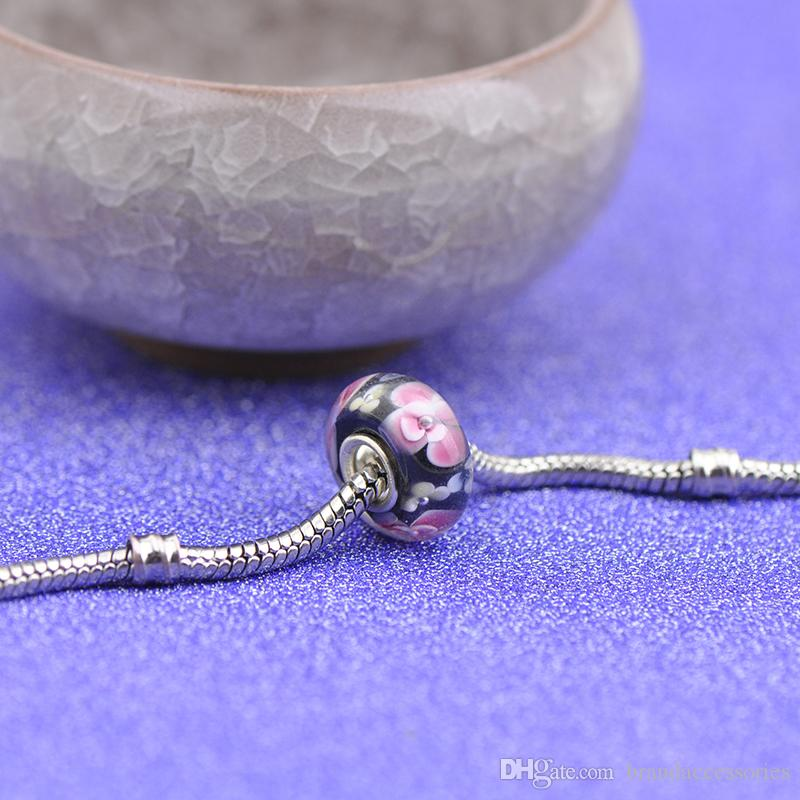 Shining Pink Flowers Black Murano Glass Beads S925 Silver Core Charms Fit Pandora Bracelets Necklace DIY Girl Jewelry Accessories PDZ111