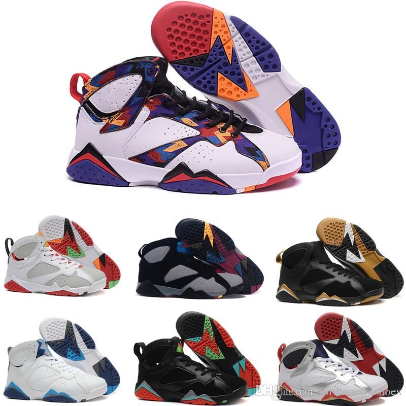 buy popular 93d72 1aa8e High Quality 7s Mens Basketball Shoes 7 Olympic Sweater French Blue True  Flight Hare Marvin White Men Women Sneakers Sports Shoes Sizes 7-13