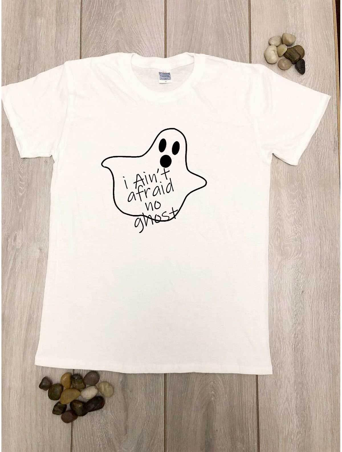 246f5f63c I ain't afraid of no Ghost Halloween T shirt Paranormal Ghost Hunting Funny  TeeFunny free shipping Unisex Casual Tshirt top