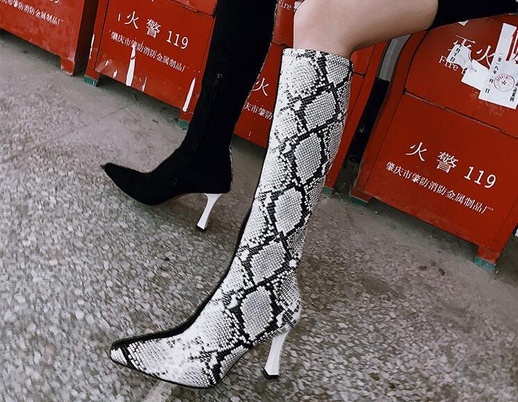 Compre Botas De Piel De Serpiente Sexy De Tacón Alto Botas De Estiramiento  De Mujer De Lujo Punta Estrecha Moda Tacón Alto A  135.26 Del Hadfunn  95b62dff6750